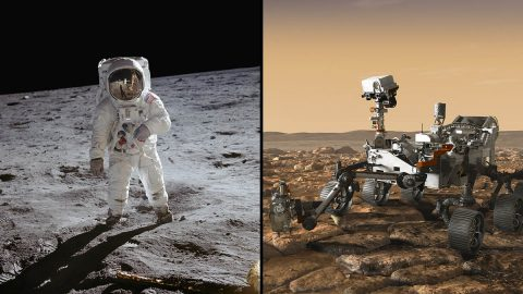 From left to right: Apollo 11 astronaut Buzz Aldrin stands on the Moon; 47 pounds (21.5 kilograms) of samples were brought back to Earth from that mission; the Mars 2020 rover, seen here in an artist's concept rover, will be taking the first planetary samples at Jezero Crater, Mars (on right). (NASA/JPL-Caltech)
