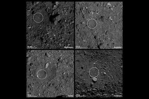 Pictured are the four candidate sample collection sites on asteroid Bennu selected by NASA's OSIRIS-REx mission. Site Nightingale (top left) is located in Bennu's northern hemisphere. Sites Kingfisher (top right) and Osprey (bottom left) are located in Bennu's equatorial region. Site Sandpiper (bottom right) is located in Bennu's southern hemisphere. In December, one of these sites will be chosen for the mission's touchdown event. (NASA/University of Arizona)