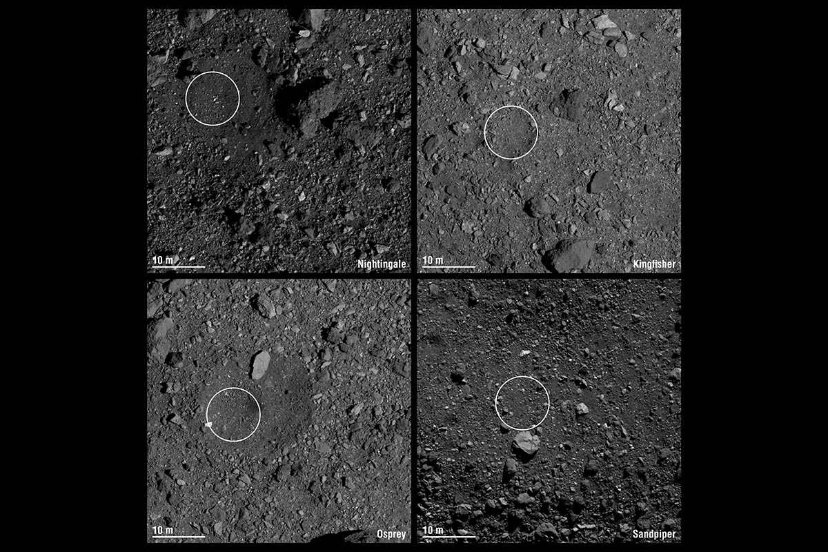 NASA Mission Picks 4 Sites on Asteroid Bennu For Sample Collection