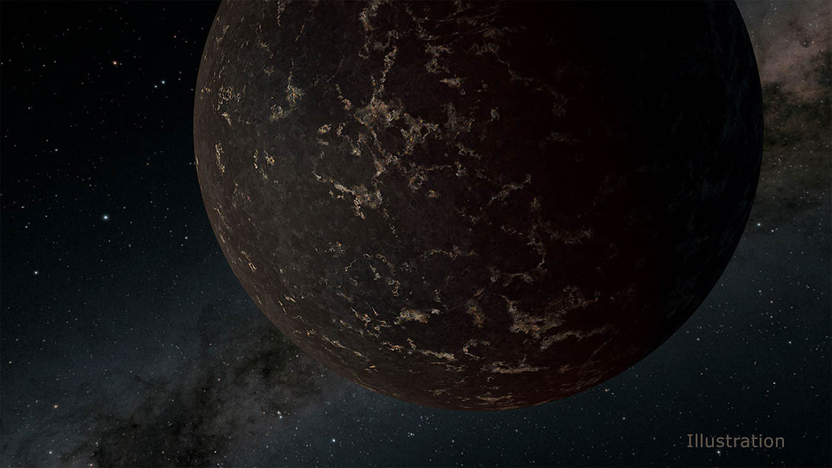 This artist's illustration depicts the exoplanet LHS 3844b, which is 1.3 times the mass of Earth and orbits an M dwarf star. The planet's surface may be covered mostly in dark lava rock, with no apparent atmosphere, according to observations by NASA's Spitzer Space Telescope. (NASA/JPL-Caltech/R. Hurt (IPAC))