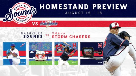 Nashville Sounds begin four game homestand Thursday against Omaha Storm Chasers. (Nashville Sounds)