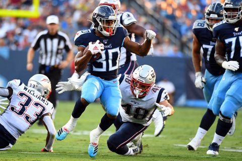 Tennessee Titans running back Jeremy McNichols (30) runs the ball during the first half against the New England Patriots at Nissan Stadium. (Christopher Hanewinckel-USA TODAY Sports)