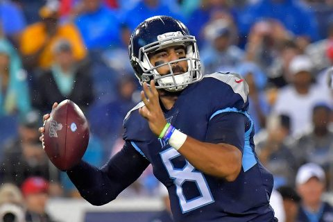 Tennessee Titans quarterback Marcus Mariota (8) passes the ball against the Pittsburgh Steelers during the first half at Nissan Stadium. (Jim Brown-USA TODAY Sports)