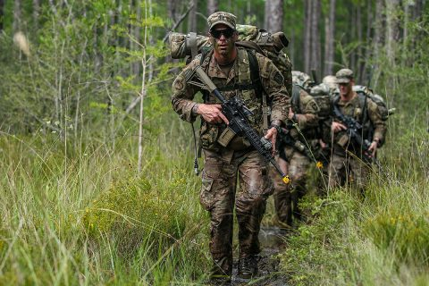 Senior leaders with the 3rd Brigade Combat Team, 101st Airborne Division (Air Assault) on Fort Campbell, Ky., conduct swamp water survival training during the third annual, three-day training event called Bushido starting at Fort Campbell to Camp Rudder, Eglin Air Force Base, Fla., on August 26th-29th. (Staff Sgt. Michael Eaddy, 3rd Brigade Combat Team, 101st Airborne Division (AA) Public)