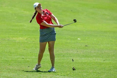 Austin Peay Women's Golf players Meghann Stamps, Taylor Dedmen and Shelby Darnell had top 10 finishes at Greenbrier Invitational. (APSU Sports Information)