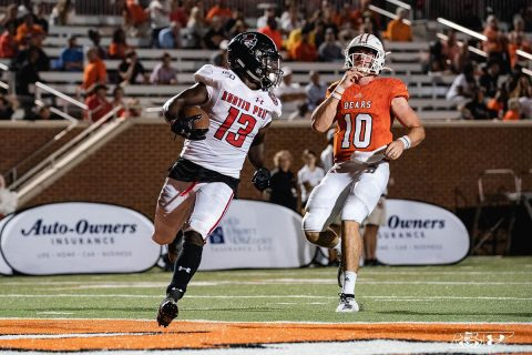 Austin Peay Football defensive back Kordell Jackson picks off a pass and runes it back 29 yards for a touchdown. (APSU Sports Information)