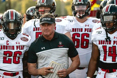 Austin Peay State University Football's defense held the Mercer Bears to 43 rushing yards. (APSU Sports Information)