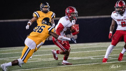 Austin Peay Football wide receiver DeAngelo Wilson had 137 yards and one touchdown in loss to East Tennessee Saturday night. (APSU Sports Information)