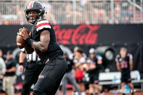 Austin Peay State University Football quarterback JaVaughn Craig completed 15-of-21 passes for 220 yards and two touchdowns against #11 Jacksonville State, Saturday afternoon. (APSU Sports Information)