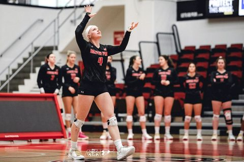 Austin Peay Women's Volleyball junior Chloe Stitt powers Govs to OVC opening win over SIU Edwardsville, Friday. (APSU Sports Information)