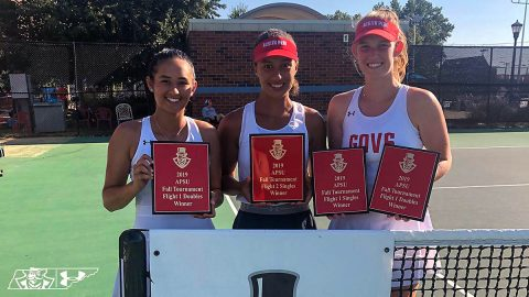 APSU Women's Tennis' (L to R) Danielle Morris, Martina Paladini-Jennings and Fabienne Schmidt took top titles at APSU Fall Invitational. (APSU Sports Information)