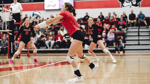 Austin Peay Volleyball libero Ginny Gerig surpasses 1,500 digs. (APSU Sports Information)