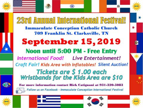 Clarksville's Immaculate Conception Catholic Church to hold their 23rd annual International Festival on Sunday, September 15th.