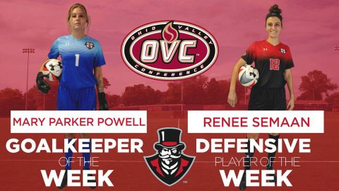 Two Austin Peay Women's Soccer senior captains Renee Semaan and Mary Parker Powell get OVC Weekly honors. (APUS Sports Information)