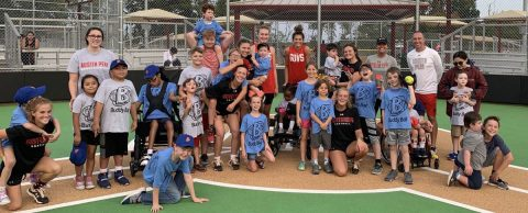 Austin Peay Softball players with their Buddy Ball friends. (APSU Sports Information)