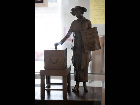 A model of the proposed Clarksville statue honoring the 19th amendment.