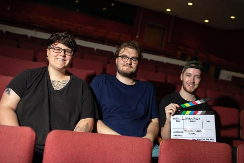 (L to R) Austin Peay State University students Lizzy Patterson, Josef Clark and Taylor Moore collaborated on the film during Karen Bullis' documentary production class last year. (APSU)