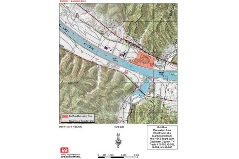 This map shows the location of Bull Run Recreation Area on the Cumberland River in Ashland City, Tennessee. Ashland City operates the park. It is scheduled for closure as of October 31st, 2019.