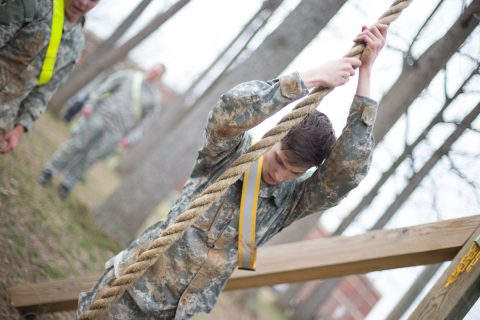 Austin Peay cadet doing the rope climb, one of the tasks in the upcoming competition. (APSU)
