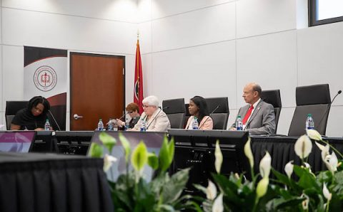 Members of Austin Peay State University's Board of Trustees discuss University policies during a recent meeting. (APSU)