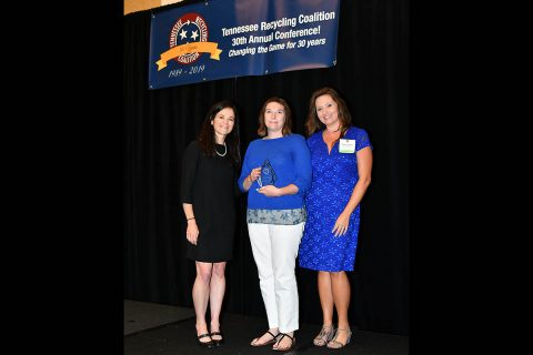 (L to R): Meredith Leahy (TRC President), Carlye Sommers (Clarksville-Montgomery Green Certification Program Manager) and Amber Greene (TRC Secretary).