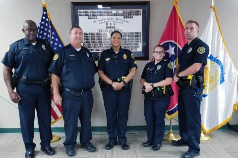 Clarksville Police Department Community Relations Unit (L to R) Officer Howard, Officer Carroll, Sgt Jones, Officer Kellett, and Officer Traughber.