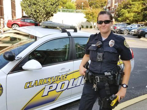 Clarksville Police Officer Victoria Crosby wears a body-worn camera in the middle of her torso. The camera joins an array of other equipment and tools mounted on her uniform. (CPD)