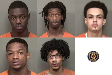 Clarksville Police arrest (Top: L to R) Lewis Timmons, Kaleb Wilson, Kamren Bennett, Dorris Acree, and Anthony Spencer for murder and attempted murder.