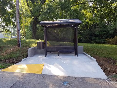 The Clarksville Transit System continues to add new bus shelters throughout Clarksville. The shelters include a bench, solar powered LED lights, a trash receptacle and space for wheelchair access.