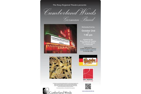 Roxy Regional Theatre to host Oktoberfest concert by the Cumberland Winds German Band on October 2nd.