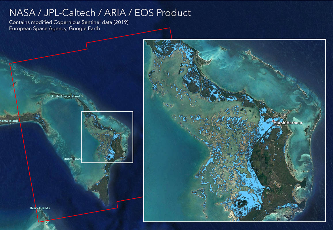The Advanced Rapid Imaging and Analysis (ARIA) team at NASA's Jet Propulsion Laboratory in Pasadena, California, created this flood map depicting areas of the Bahamas that are likely flooded (shown by light blue pixels) as a result of Hurricane Dorian. (NASA)