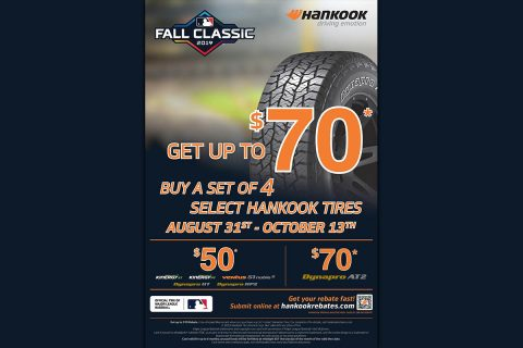 Hankook Tire's Fall Classic Rebate gives buyers a chance to receive up to a $70 prepaid Mastercard® when purchasing a set of one of six of Hankook's most popular passenger and light truck tire models (Hankook Tire America Corp.)