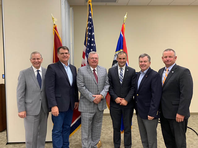 (L to R) Clarksville Mayor Joe Pitts, District 74 Rep. Jay Reedy, District 68 Rep. Curtis Johnson, District 67 Rep. Jason Hodges, District 22 State Sen. Bill Powers and Montgomery County Mayor Jim Durrett.