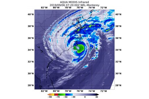 On September 6th at 2:20am CDT (0720 UTC), NASA's Aqua satellite provided temperature data on Hurricane Dorian to show where strongest storms were located (red) with cloud top temperatures as cold as minus 70 degrees Fahrenheit (minus 56.6 Celsius). (NASA/NRL)