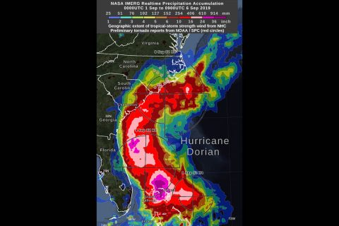NASA's IMERG showed during the past day, most of the areas experiencing over 10 inches of rain accumulation remained offshore, while Dorian did drop heavy rain on South Carolina and North Carolina. The graphic shows the distance that tropical-storm force (39 mph) winds extend from Hurricane Dorian's low-pressure center, as estimated by the National Hurricane Center. (Visualization by NASA Goddard.)