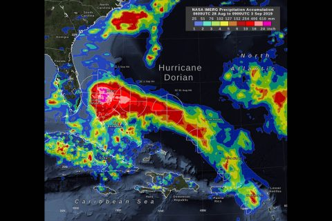 NASA's IMERG storm-total rain accumulation over parts of Grand Bahama and Abaco islands have exceeded 24 inches according to NASA satellite-based estimates. The graphic also shows the distance that tropical-storm force (39 mph) winds extend from Hurricane Dorian's low-pressure center, as reported by the National Hurricane Center. The symbols H and TS represent a hurricane of various Saffir-Simpson categories or a tropical storm, respectively. (NASA Goddard)