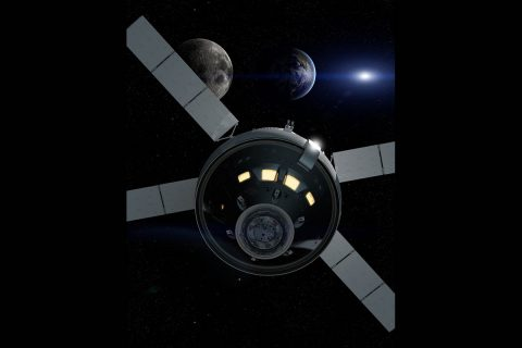 Artist rendering of NASA's Orion spacecraft as it travels 40,000 miles past the Moon during Artemis I, its first integrated flight with the Space Launch System rocket. (NASA)