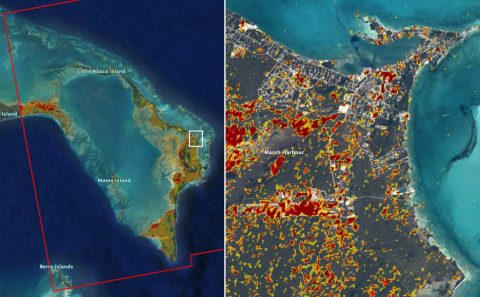 A damage assessment map derived from satellite data shows conditions on one island in the Bahamas on Sept. 2. Red and yellow areas are likely the most damaged. (NASA-JPL, Caltech, Earth Observatory of Singapore)