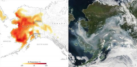 In June and early July 2019, a heat wave in Alaska broke temperature records, as seen in this July 8th air temperature map (left). The corresponding image from the Moderate Resolution Imaging Spectroradiometer (MODIS) instrument on Aqua on the right shows smoke from lightening-triggered wildfires. (NASA Earth Observatory)