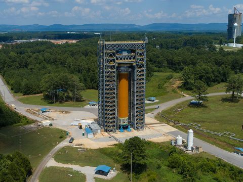 The core stage test team recently completed structural testing confirming the stage's liquid hydrogen tank structural design is good for conditions that will be experienced in the rocket's initial configuration, called Block 1, during the Artemis I launch. (NASA/Tyler Martin)