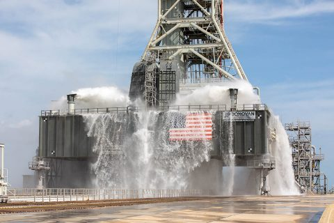 NASA continued its preparation for the Artemis I mission with a successful water flow test on the mobile launcher at Kennedy Space Center's Pad 39B on Friday, September 13th. (NASA/Kim Shiflett)