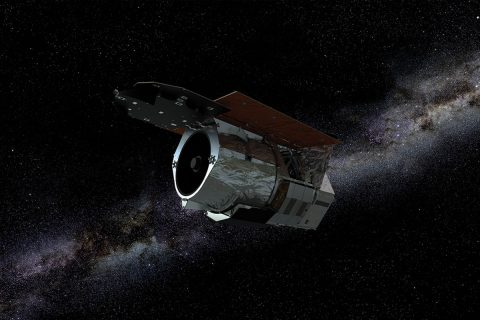 An artist's rendering of NASA's Wide Field Infrared Survey Telescope (WFIRST), which will study multiple cosmic phenomena, including dark energy. (NASA's Goddard Space Flight Center)