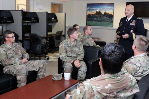 (standing) Deputy Adjutant General of the Tennessee National Guard, Maj. Gen. Tommy H. Baker visited the Fort Campbell Warrior Transition Battalion to meet with Tennessee National Guard Soldiers assigned to the battalion and tour the facilities. The WTB provides support to active-duty, Reserve and Guard Soldiers wounded, ill or injured in the line of duty who require six months or more of nurse case managed rehabilitative care. (U.S. Army photo by Maria Yager)
