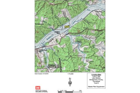 This is a map showing the location of Lock C on the Cumberland River in Montgomery County, Tennessee. (U.S. Army Corps of Engineers, Nashville District)