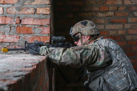 Pvt. Alex Glenn of Delta Company, 1st Battalion, 26th Infantry Regiment provides security during an urban operations demonstration for distinguished visitors as part of Rapid Trident 2019 at Combat Training Center-Yavoriv, September 20th, 2019. (1st Lt. Lynn Chui, 2nd Brigade Combat Team, 101st Airborne Division (AA) Public Affairs)