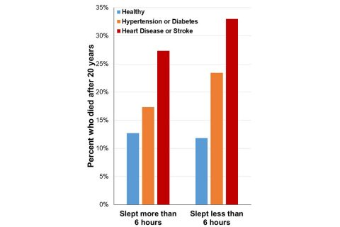 Bar graph showing that for people who slept less than 6 hours, the risk of early death associated with hypertension or diabetes was two times higher, while the risk of early death associated with heart disease or stroke was three times higher. (Fernandez-Mendoza et al; Journal of the American Heart Association)