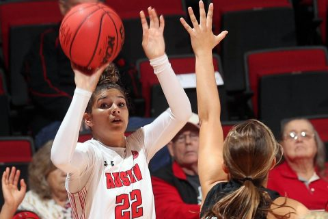 Austin Peay State University Women's Basketball dominates Tennessee Wesleyan, 106-35 Tuesday night at the Dunn Center. (APSU Sports Information)