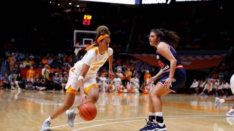 Tennessee Women's Basketball sophomore Rae Burrell had 14 points and nine rebounds against Carson-Newman Tuesday night. (UT Athletics)