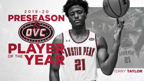 Austin Peay Men's Basketball team's Terry Taylor named OVC Preseason Player of the Year at annual Media Day. (APSU Sports Information)