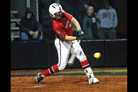 Austin Peay Softball's Team Black has big first inning in win over Team White at Red & Black World Series. (Robert Smith, APSU)